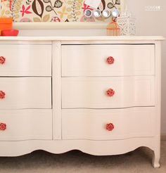 Dresser Rehab: how to update an old dresser with a fresh coat of paint and Anthropologie knobs!