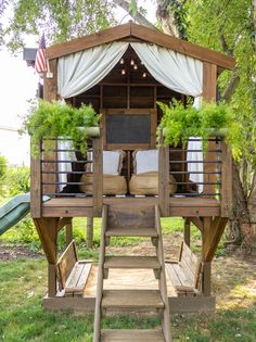 Backyard Playhouse, Backyard Playground, Backyard For Kids, Backyard Projects, Outdoor Projects, Backyard Patio, Backyard Landscaping, Playhouse Plans, Outdoor Spaces