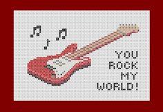 You rock my world  Guitar PDF cross stitch pattern by Richearts, $4.00