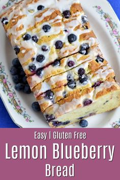 This easy to make gluten free lemon blueberry bread is tender, sweet and filled with blueberries. The lemon glaze makes it perfect to enjoy every day and for special occasions! Gluten Free Quick Bread, Gluten Free Recipes For Breakfast, Gluten Free Sweets, Gluten Free Breakfasts, Gluten Free Cakes, Gluten Free Cooking, Dairy Free Recipes, Gluten Free Dinners Easy, Gluten Free Deserts Easy