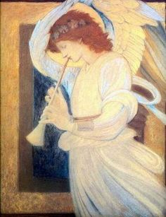 Angel Playing   Flageolet Burne-Jones, Sir Edward Coley oil painting reproduction