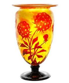 """Le Verre Francaise Charder Cameo Vase, 14"""""""