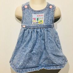VTG Lee Girls Dress Size 18 Months Denim Jumper USA Union Made Snap Buttons  | eBay Denim Jumper Dress, Vintage Girls Dresses, Union Made, 18 Months, Toddler Girl, Rompers, Buttons, Summer Dresses, Fashion