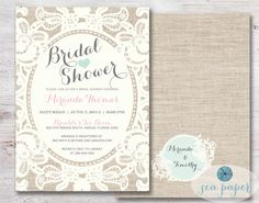 Bridal Shower Invitation Lace & Burlap Rustic Printable DIY: Shabby Chic Ivory, Pink Blush and Mint Blue with Cream Lace Doily and Burlap by SeaPaperDesigns on Etsy https://www.etsy.com/listing/195869527/bridal-shower-invitation-lace-burlap