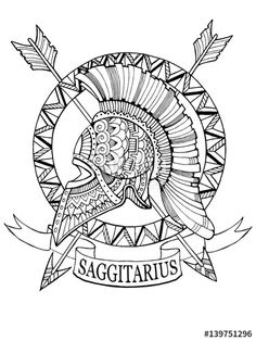 Sagittarius zodiac sign coloring page for adults | Fotolia 139751296