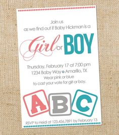 gender reveal party - love this invite