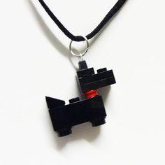 Collier chien Scottie noir mini