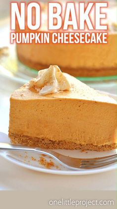 This no-bake pumpkin cheesecake is SO GOOD and it's really simple to make! It's so creamy and delicious! Loaded with all the best fall flavours, it's sure to become one of your favourite fall recipes. This is such an easy no-bake Thanksgiving dessert idea. With a delicious graham cracker crust, and the light and fluffy pumpkin filling, this easy dessert is so perfect for autumn! Thanksgiving Desserts, Fall Desserts, No Bake Desserts, Dessert Recipes, Dessert Ideas, No Bake Pumpkin Cheesecake, Easy Cheesecake Recipes, Cheesecake Bites, Best Baked Cheesecake Recipe
