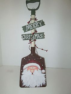 "Merry Christmas Santa Hand Painted Metal Shovel New Holiday Decoration 18"""
