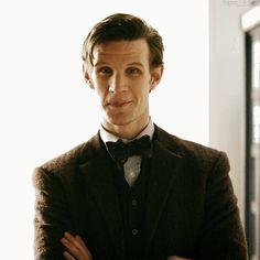 Eleven :) I love the little head nod he does Doctor Who Funny, Doctor Who 10, 13th Doctor, Eleventh Doctor, Peter Davison, I Am The Doctor, Geronimo, Matt Smith, David Tennant