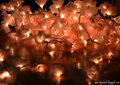DIY-tissue-paper-string-lights-sparkle and hay