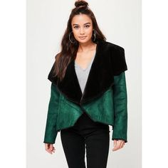 Missguided Waterfall Jacket ($60) ❤ liked on Polyvore featuring outerwear, jackets, green, missguided jackets, waterfall jacket, green waterfall jacket and green jacket