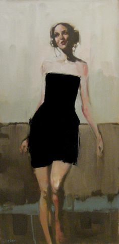 "Michael Carson | ""A Walk in a Black Dress"", oil on canvas. Michael has had several solo shows in Minneapolis from 2003-2006 and has participated in several group shows. Michael Carson is a bold new talent emerging on the art scene and Jones & Terwilliger Galleries is proud to introduce his work to the West coast art market."
