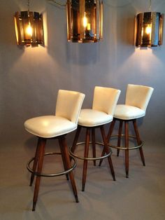 Midcentury Swivel Bar Stools On Tapered Legs -madmen Set Of Three High Pub…