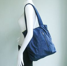 Navy Blue Water Resistant NylonBag  Side Pleats by tippythai, on Etsy