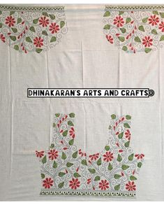 Discover thousands of images about White Floral 🌺Kantha Blouse Piece! HandEmbroidered on Back & Sleeves with Lovely Combination of Red & green on white base! Grab this… Embroidery On Kurtis, Kurti Embroidery Design, Hand Embroidery Dress, Hand Embroidery Videos, Bead Embroidery Patterns, Embroidery On Clothes, Hand Embroidery Designs, Beaded Embroidery, Kutch Work Saree