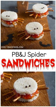 Peanut butter and jelly spider sandwiches.a fun halloween lunch idea for kids! Snack party food Peanut butter and jelly spider sandwiches.a fun halloween lunch idea for kids! Halloween Desserts, Comida De Halloween Ideas, Couples Halloween, Halloween Snacks For Kids, Hallowen Food, Halloween Activities, Halloween Fun, Halloween Nails, Halloween Costumes