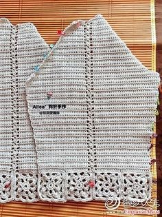 Openwork cardigan raglan with strapping of motifs. Openwork cardigan raglan with strapping of motifs. Diy Crochet Cardigan, Crochet Coat, Crochet Mittens, Crochet Jacket, Chunky Crochet, Crochet Shawl, Crochet Clothes, Crochet Stitches, Pull Torsadé