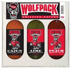 North Carolina State Wolfpack NCAA Grilling Gift Set (12oz Cajun, 12oz Lime, 12oz Peach)