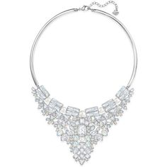 Swarovski Silver-Tone Imitation Pearl and Crystal Cluster Collar... found on Polyvore featuring jewelry, necklaces, silver, silver tone necklace, fake pearl jewelry, polish jewelry, swarovski jewellery and imitation pearl necklace