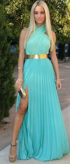 Light Blue Prom Gowns 2015 Halter Chiffon Sleeveless Gold Sash Side Slit Sexy Floor Length A Line Evening Dresses Long Prom Dress