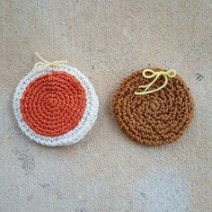two crochet cookies for a crochet scarf, crochetbug, crochet cookies, crochet sugar cookie, crochet gingersnap, crocheted, crocheting, crochet circle, crochet circles, crochet scarf