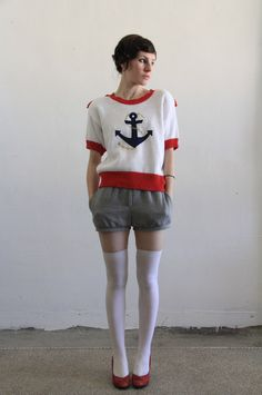 sailor sweater | Vintage Sailor Sweater . Anchor . Epaulets . Knitted Crop Top . 1980s