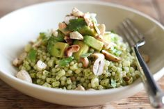 Pearl Couscous salad with avocado and cashews. I used edamame instead of corn and it was perfect!