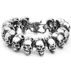Men's Stainless Steel Grinning Skull Link Lobster Claw Bracelet - Overstock™ Shopping - Big Discounts on West Coast Jewelry Men's Bracelets