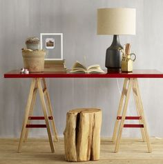red sawhorse table