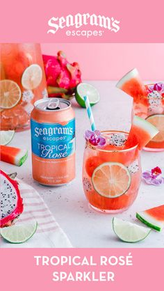 Mix Seagram's Escapes Tropical Rosé, vodka, watermelon juice and sparkling wine for a delicious drink! Party Drinks, Wine Drinks, Cocktail Drinks, Cocktail Recipes, Alcoholic Drinks, Beverages, Refreshing Drinks, Summer Drinks, Alcohol Drink Recipes