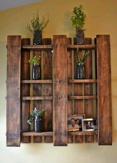 Wood Pallet shelves!many more are available http://www.vickswoodworkingplans.com/