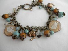 Coffee and Tea Charm Handmade  Beaded Bracelet | jnldesigns - Jewelry on ArtFire
