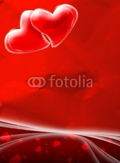 #Valentine's #Day #Red #Card with #Hearts © bluedarkat