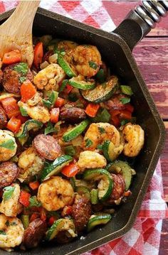 We love dishes like this one for quick and easy One-Skillet Shrimp and Sausage. Why, you ask? This flavorful dish is perfect for putting your own twist of kitchen creativity by adding unique vegetables, herbs, and spices. Plus, the zucchini, sausage, shrimp, and Old Bay seasoning base is a great way to start this dinner recipe.