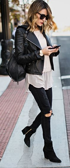 #black #fashion #fall Christine Andrew + ripped black jeans + leather jacket + pale pink sweater + funky silk inset. Sweater/Jeans/Jacket: Nordstrom.