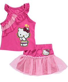 "Hello Kitty Little Girls' Toddler ""Ruffle Draped"" 2-Piece Outfit (Sizes 2T – 4T) $14.99 Give her look extra cuteness and coordination with this Hello Kitty 2-piece!"