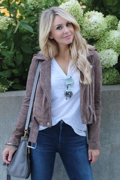 This tan moto jacket is perfect paired with a white tee and your favorite pair of high waisted denim.