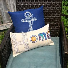 Embroidered and Painted Nautical Theme Pillow Cover - The Creative Studio