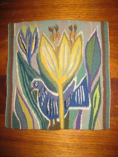 Swedish Handwoven Tapestry Flemish OLD Bird   eBay