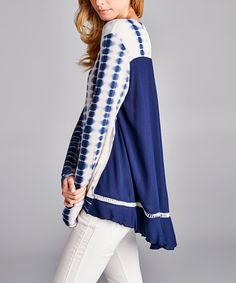 Another great find on #zulily! Love, Kuza Navy Tie-Dye Lace-Back Tunic by Love, Kuza #zulilyfinds