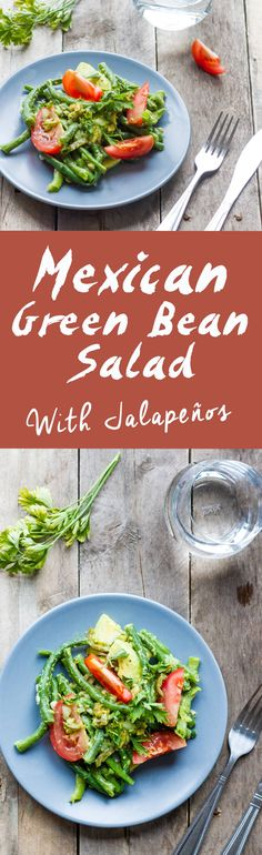 Mexican Green Bean Salad with Pickled Jalapeño Pepper | 20 minute recipe | www.haveanotherbite.com | #mexican #salad #avocado