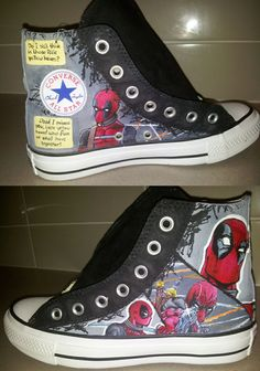Custom Shoes. $110.00. Love the Deadpool ones, but the Harleys are adorable too!