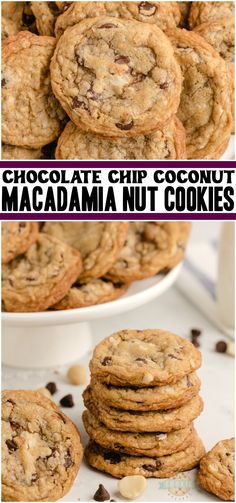 Chocolate chip macadamia nut cookies are soft Easy No Bake Desserts, Easy Desserts, Delicious Desserts, Dessert Recipes, Bar Recipes, Family Recipes, Kitchen Recipes, Appetizer Recipes, Best Homemade Cookie Recipe