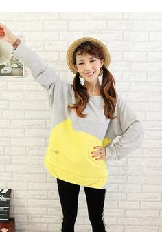 Gray and Yellow Cat Sweater | #ustrendy www.ustrendy.com