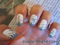 step-by-step tutorial on newspaper nails Newsprint Nails, Newspaper Nails, Girly Things, Girly Stuff, Beauty Soap, Ingrown Hair, Lip Liner, Beauty Nails, Cute Nails