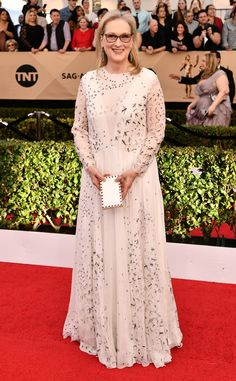 Meryl Streep blew us away in her romantically sophisticated gown and modified butterfly specs at the SAG Awards.