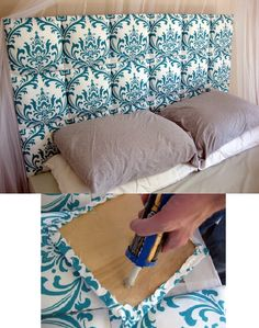 DIY headboard = cover wood squares with batting & fabric; attach squares to plywood base; use heavy duty hangers to attach to wall