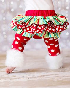 SHORT SLEEVE Christmas white red and green striped and polka dot present onesie ruffle bloomers diaper cover w/matching shabby chiffon. $66.00, via Etsy.
