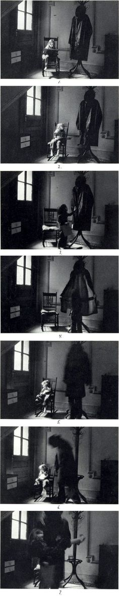 The great Duane Michals - Boogie Man Sequential. I like this photo because its a scary yet exciting story. the little girl is being sucked into the demon Narrative Photography, Horror Photography, Dark Photography, Arte Horror, Horror Art, Duane Michals, Photo Sequence, Photomontage, Dark Art